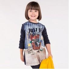 Платье комбинированное шелком для девочки Mayoral