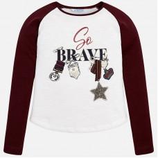 Контрастная футболка с длинным рукавом для девочки Mayoral