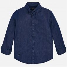 Синяя рубашка с длинным рукавом  Mayoral.