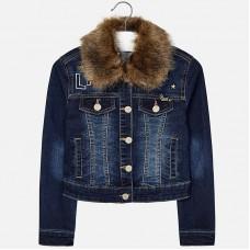 Джинсовая куртка с меховым воротником  Mayoral
