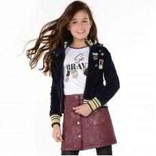 Бархатная куртка с надписями для девочки Mayoral
