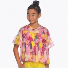 Блузка с коротким рукавом для девочки с рюшами Мayoral